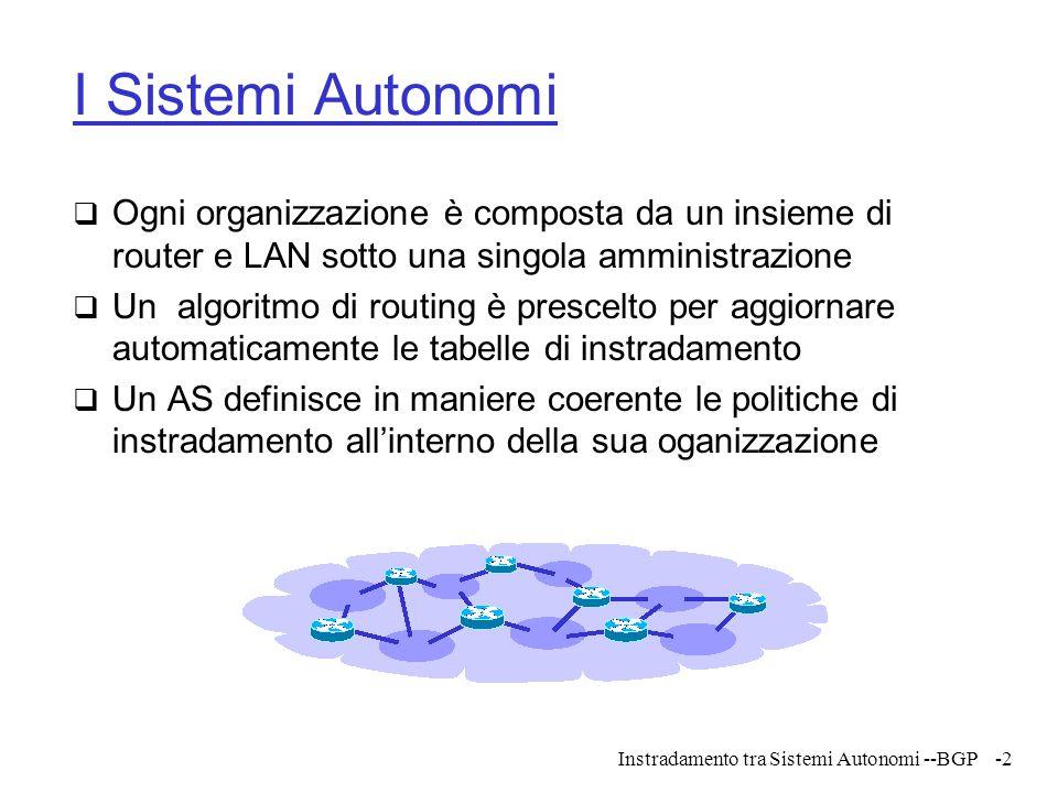 I Sistemi Autonomi Ogni organizzazione è composta da un insieme di router e LAN sotto una singola amministrazione.