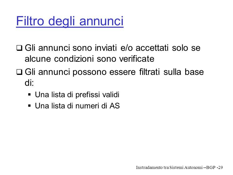 Filtro degli annunci Gli annunci sono inviati e/o accettati solo se alcune condizioni sono verificate.
