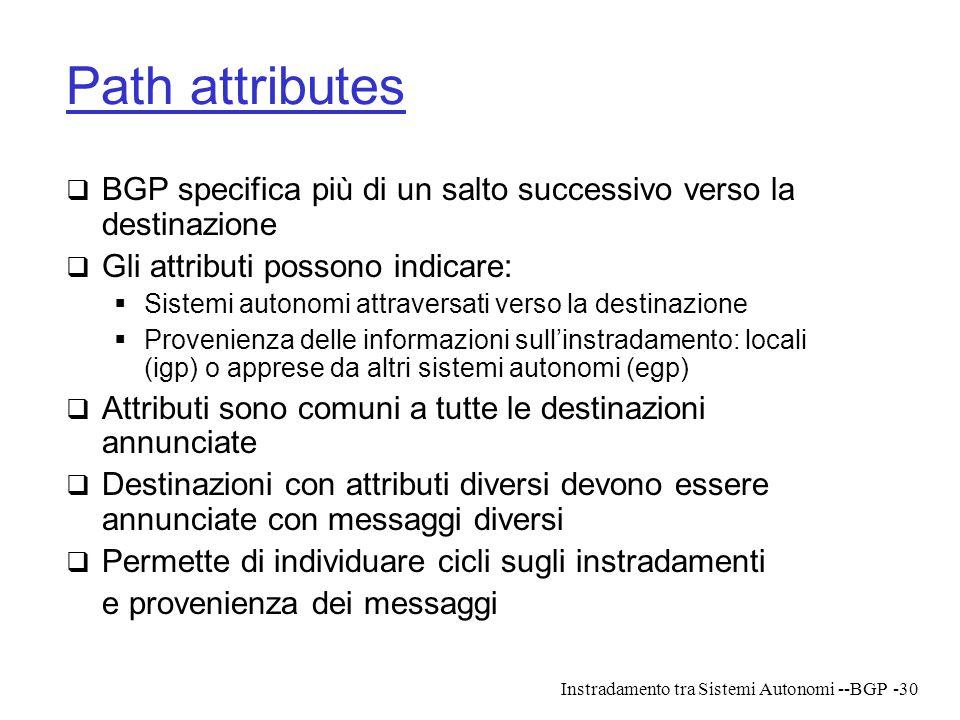 Path attributes BGP specifica più di un salto successivo verso la destinazione. Gli attributi possono indicare: