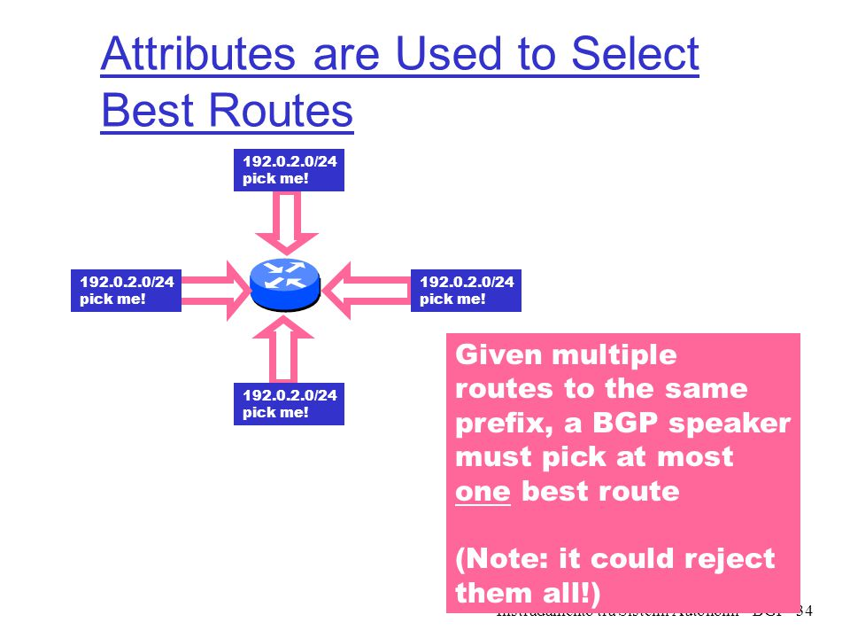 Attributes are Used to Select Best Routes