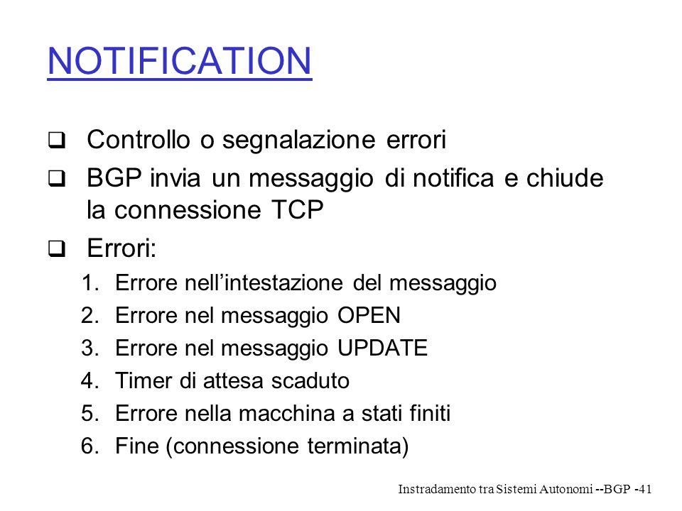 NOTIFICATION Controllo o segnalazione errori