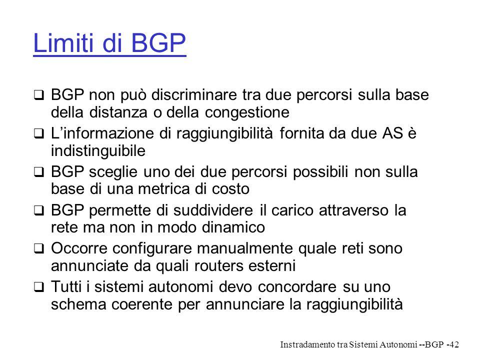 Limiti di BGP BGP non può discriminare tra due percorsi sulla base della distanza o della congestione.
