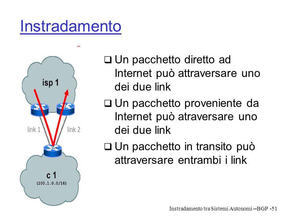 Instradamento Un pacchetto diretto ad Internet può attraversare uno dei due link.