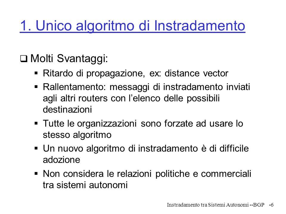 1. Unico algoritmo di Instradamento