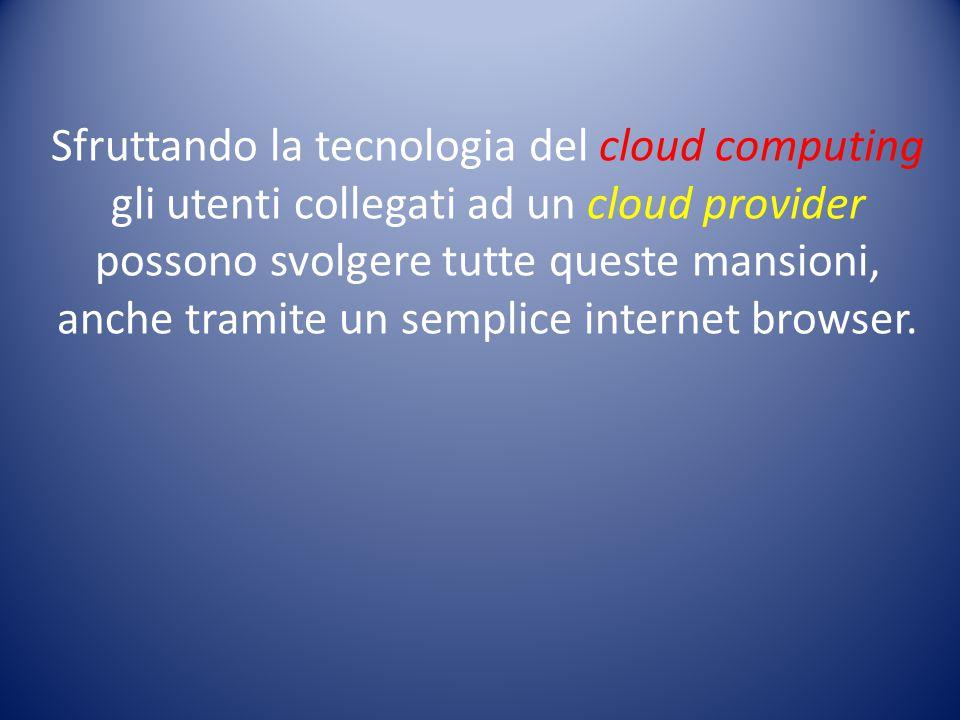Sfruttando la tecnologia del cloud computing gli utenti collegati ad un cloud provider possono svolgere tutte queste mansioni, anche tramite un semplice internet browser.