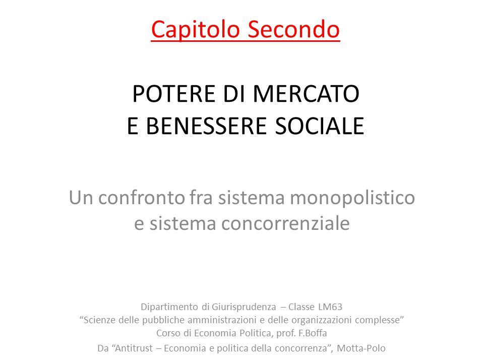 Capitolo Secondo POTERE DI MERCATO E BENESSERE SOCIALE