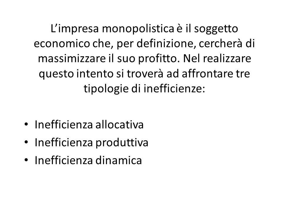 L'impresa monopolistica è il soggetto economico che, per definizione, cercherà di massimizzare il suo profitto. Nel realizzare questo intento si troverà ad affrontare tre tipologie di inefficienze: