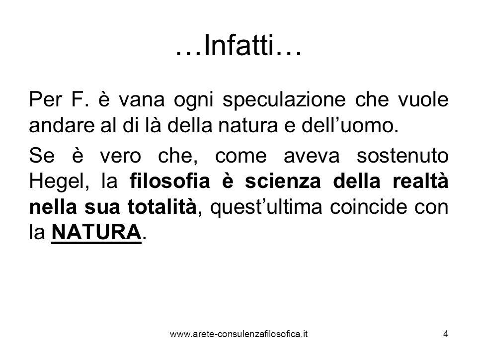 …Infatti… Per F. è vana ogni speculazione che vuole andare al di là della natura e dell'uomo.