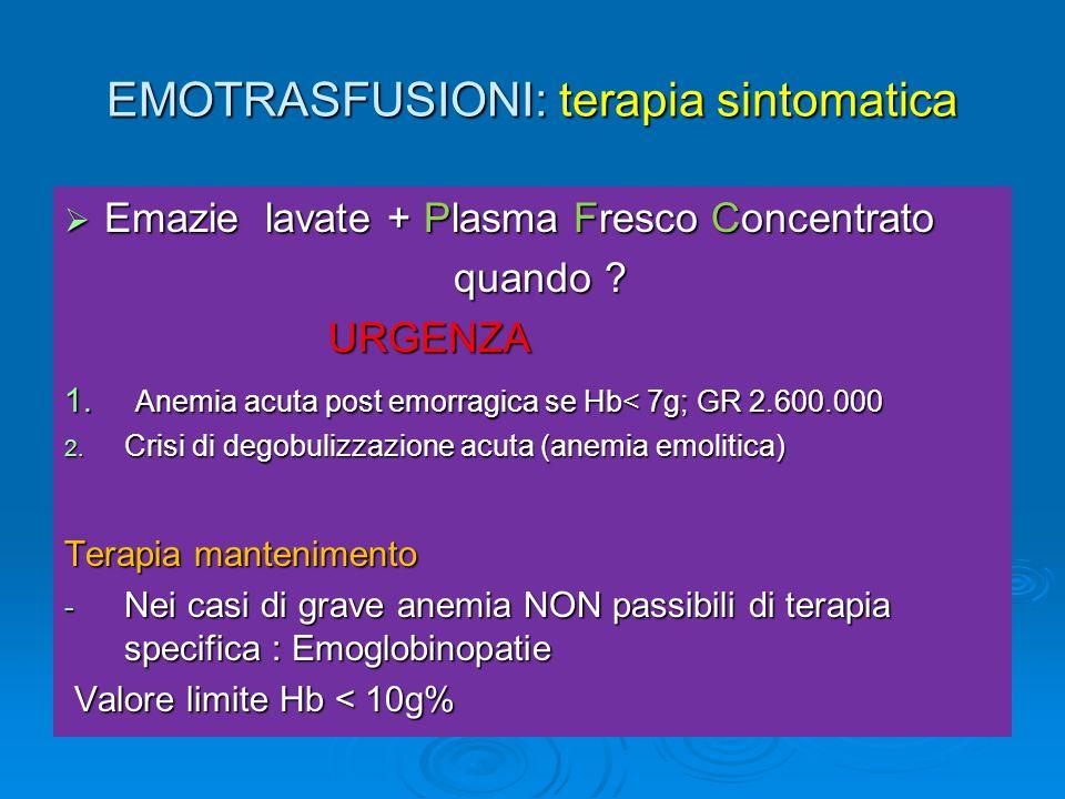 EMOTRASFUSIONI: terapia sintomatica
