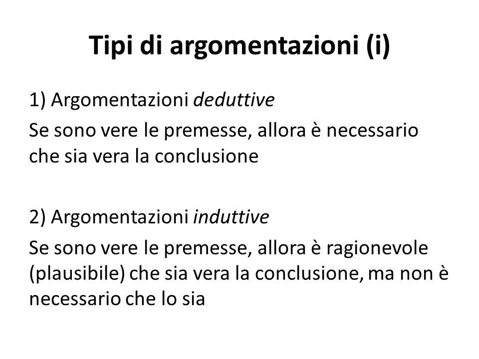 Tipi di argomentazioni (i)