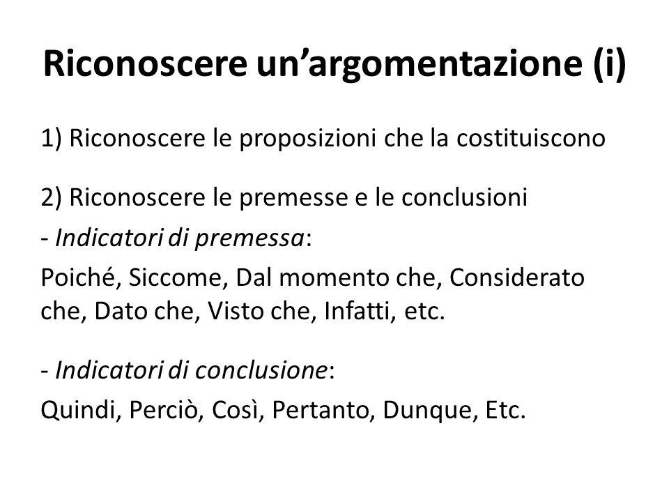 Riconoscere un'argomentazione (i)