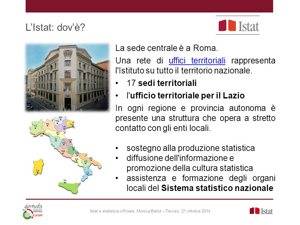 L'Istat: dov'è La sede centrale è a Roma.