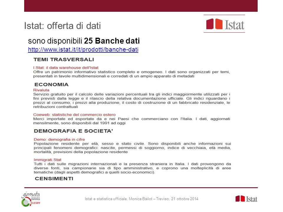 Istat: offerta di dati sono disponibili 25 Banche dati