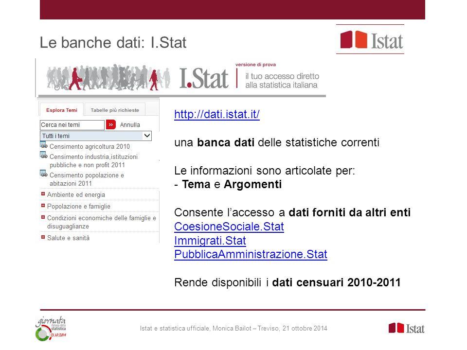 Le banche dati: I.Stat http://dati.istat.it/