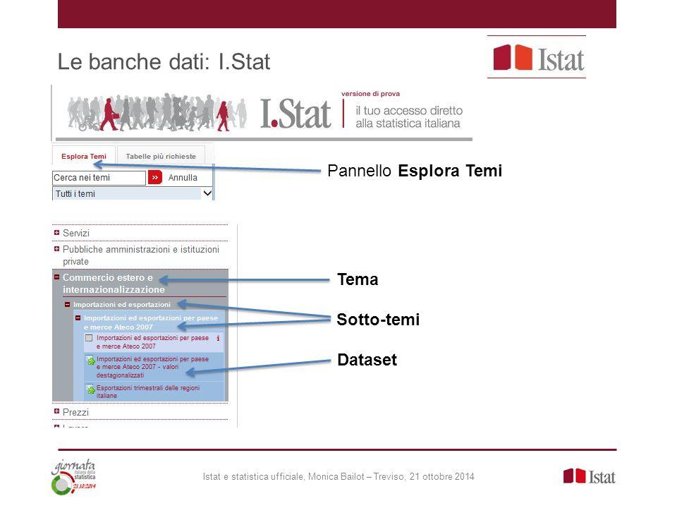 Le banche dati: I.Stat Pannello Esplora Temi Tema Sotto-temi Dataset