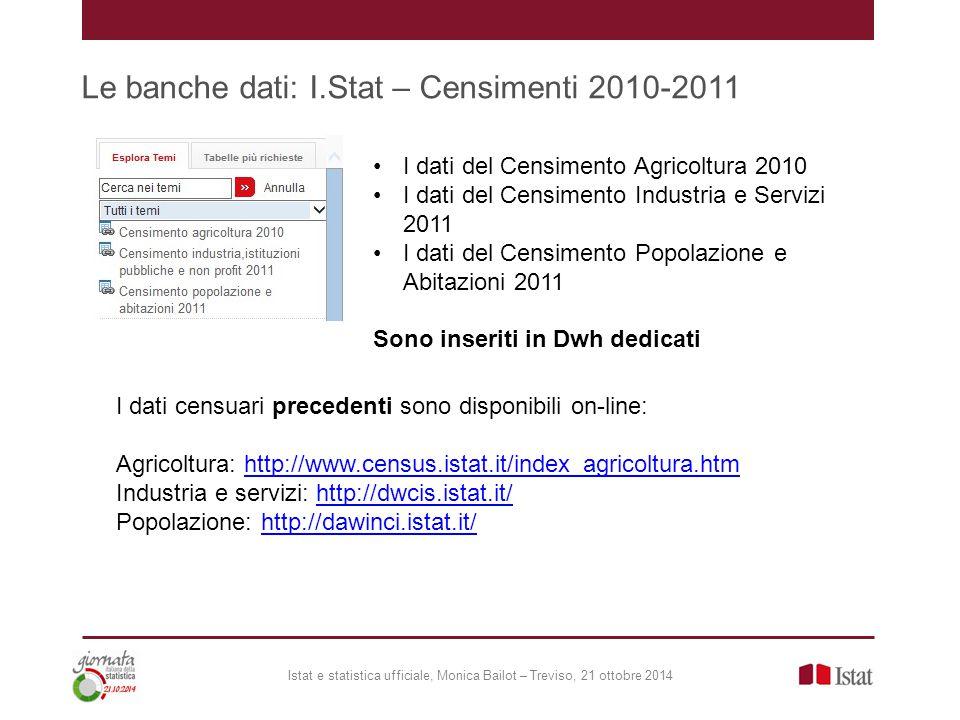 Le banche dati: I.Stat – Censimenti 2010-2011