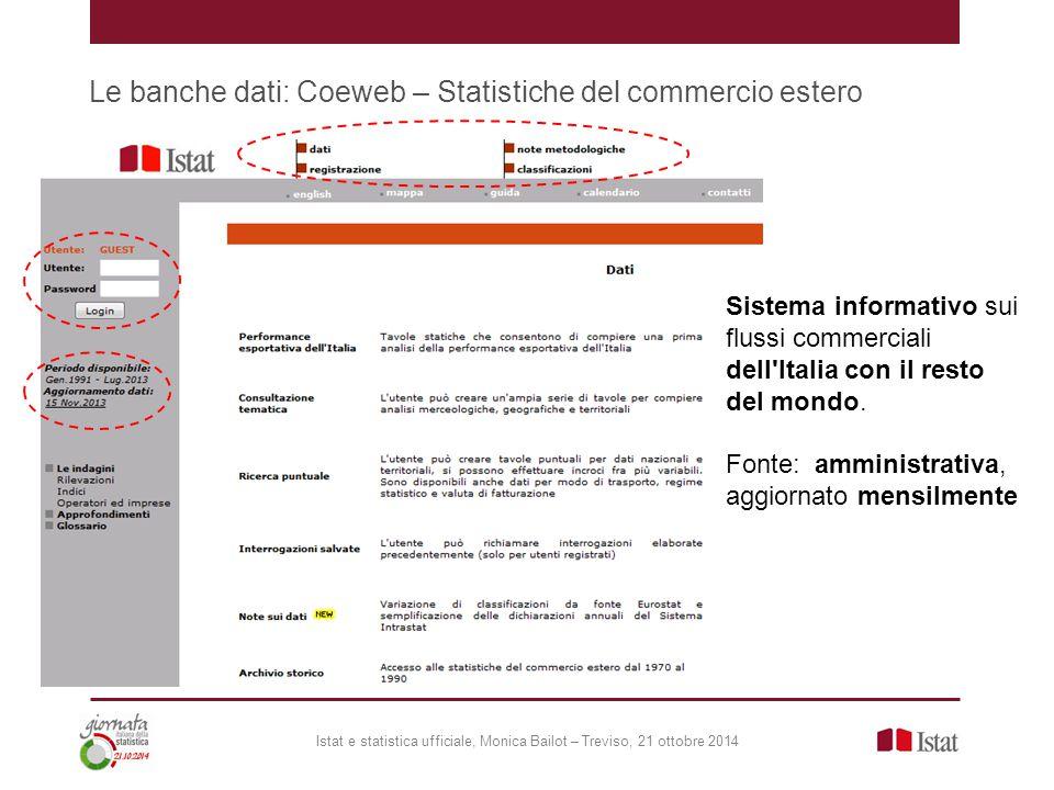 Le banche dati: Coeweb – Statistiche del commercio estero