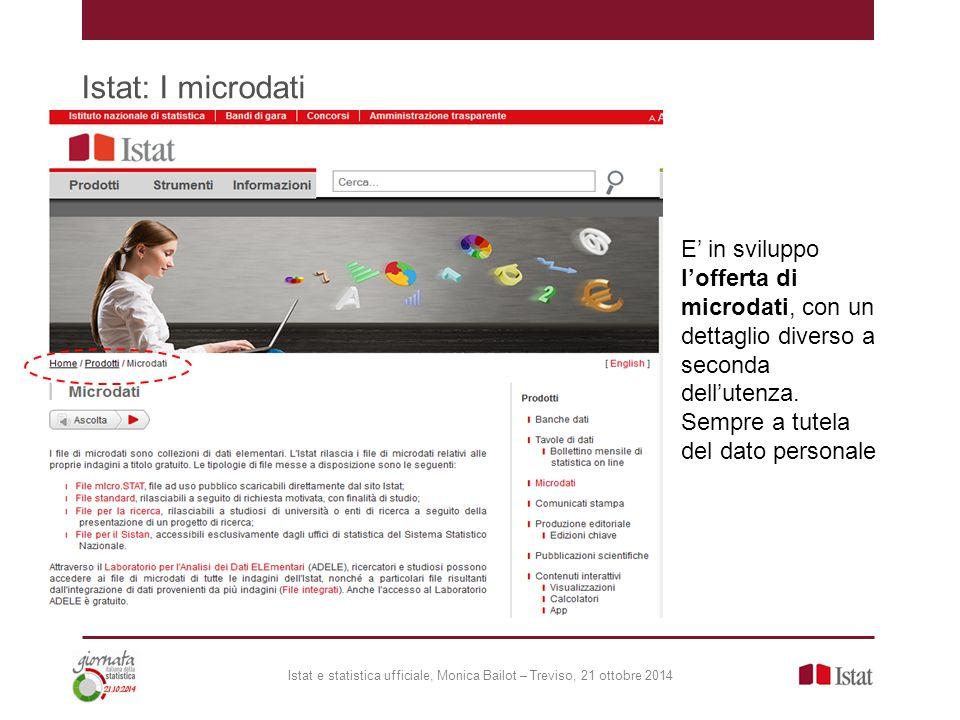 Istat: I microdati E' in sviluppo l'offerta di microdati, con un dettaglio diverso a seconda dell'utenza. Sempre a tutela del dato personale.