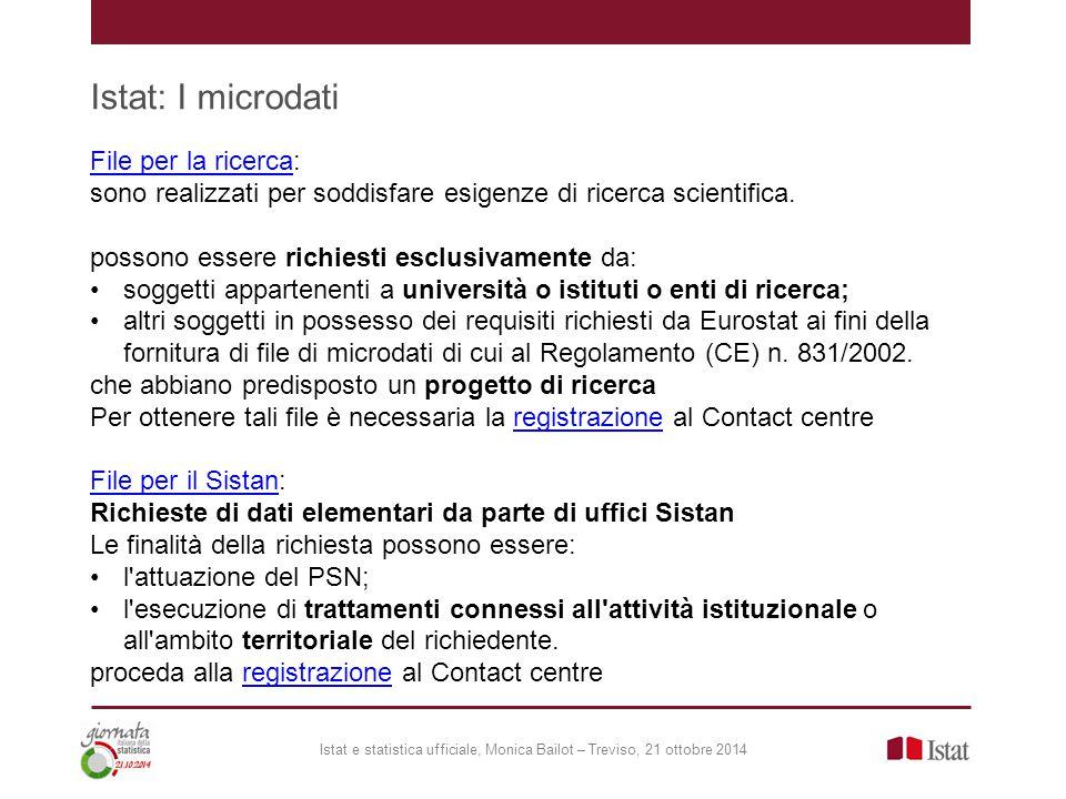 Istat: I microdati File per la ricerca:
