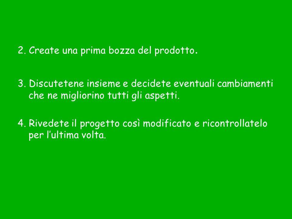 2. Create una prima bozza del prodotto.