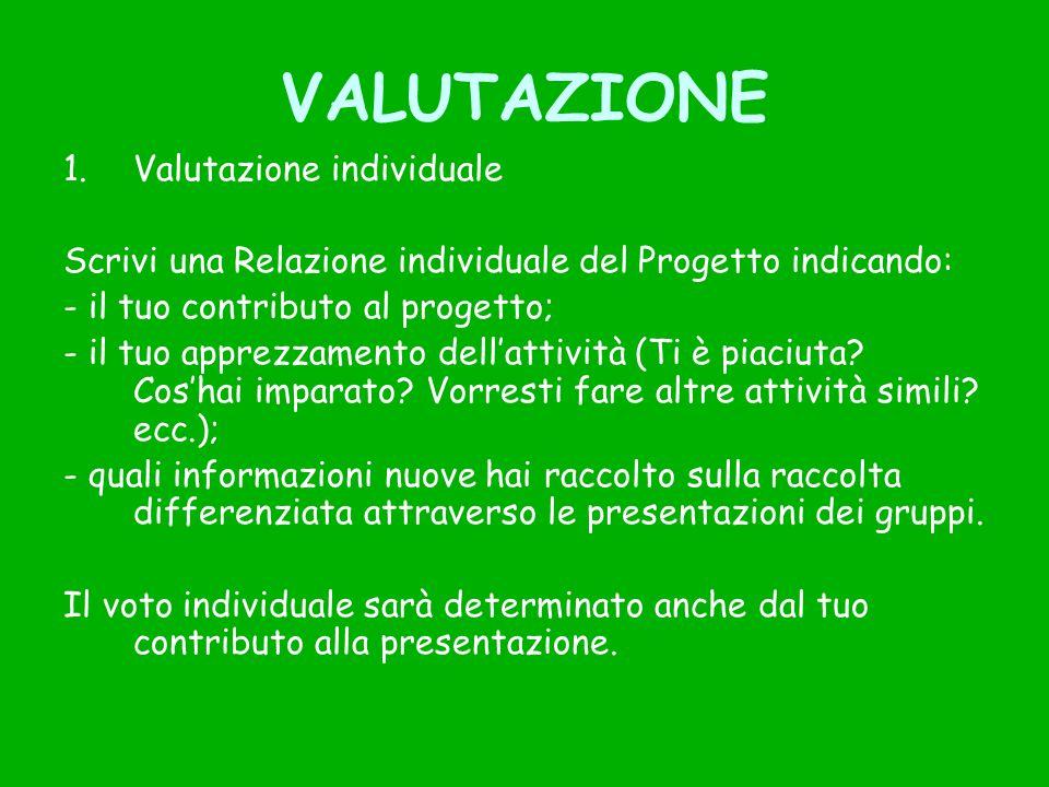 VALUTAZIONE Valutazione individuale