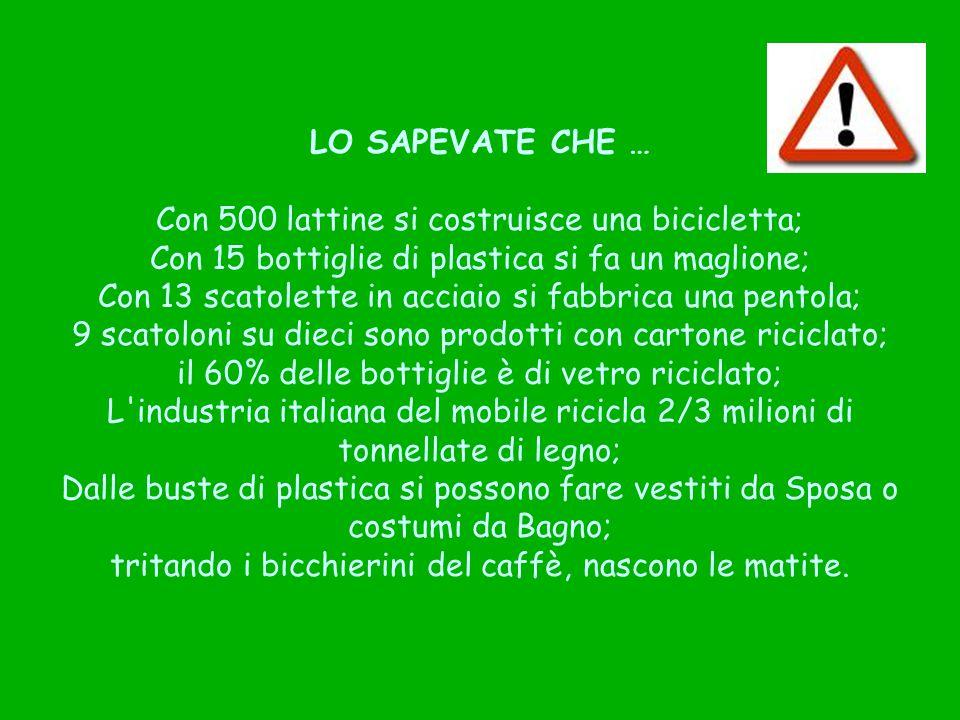 LO SAPEVATE CHE … Con 500 lattine si costruisce una bicicletta; Con 15 bottiglie di plastica si fa un maglione; Con 13 scatolette in acciaio si fabbrica una pentola; 9 scatoloni su dieci sono prodotti con cartone riciclato; il 60% delle bottiglie è di vetro riciclato; L industria italiana del mobile ricicla 2/3 milioni di tonnellate di legno; Dalle buste di plastica si possono fare vestiti da Sposa o costumi da Bagno; tritando i bicchierini del caffè, nascono le matite.