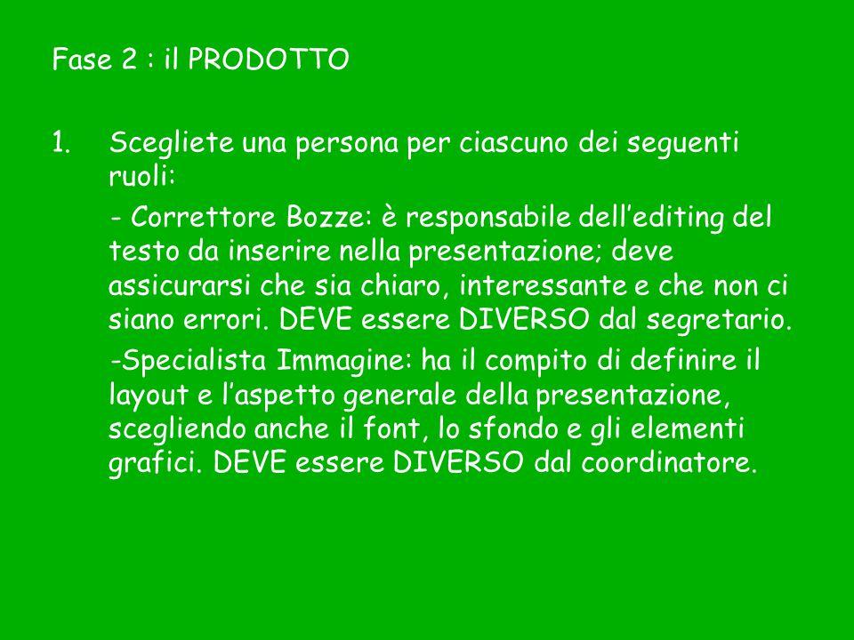 Fase 2 : il PRODOTTO Scegliete una persona per ciascuno dei seguenti ruoli: