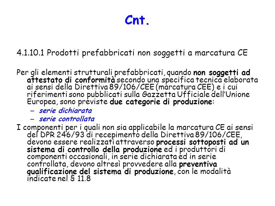 Cnt. 4.1.10.1 Prodotti prefabbricati non soggetti a marcatura CE