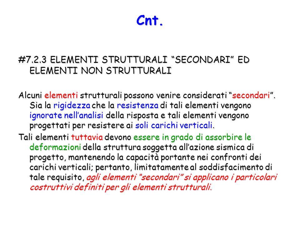 Cnt. #7.2.3 ELEMENTI STRUTTURALI SECONDARI ED ELEMENTI NON STRUTTURALI.