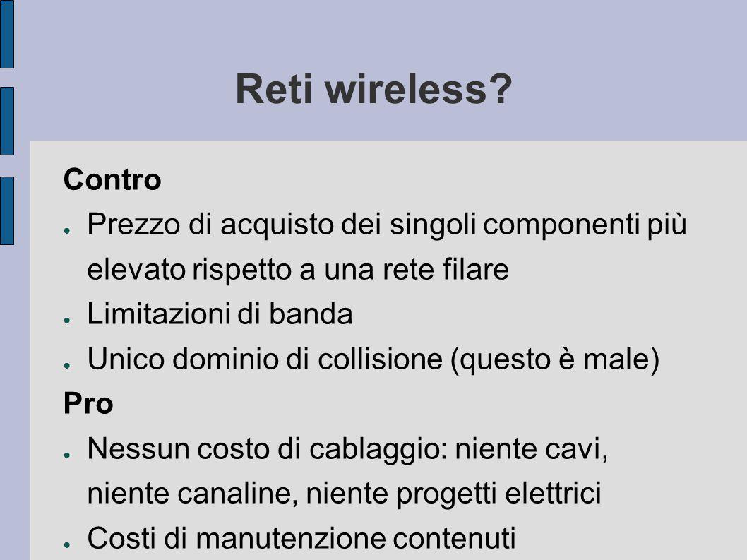 Reti wireless Contro. Prezzo di acquisto dei singoli componenti più elevato rispetto a una rete filare.