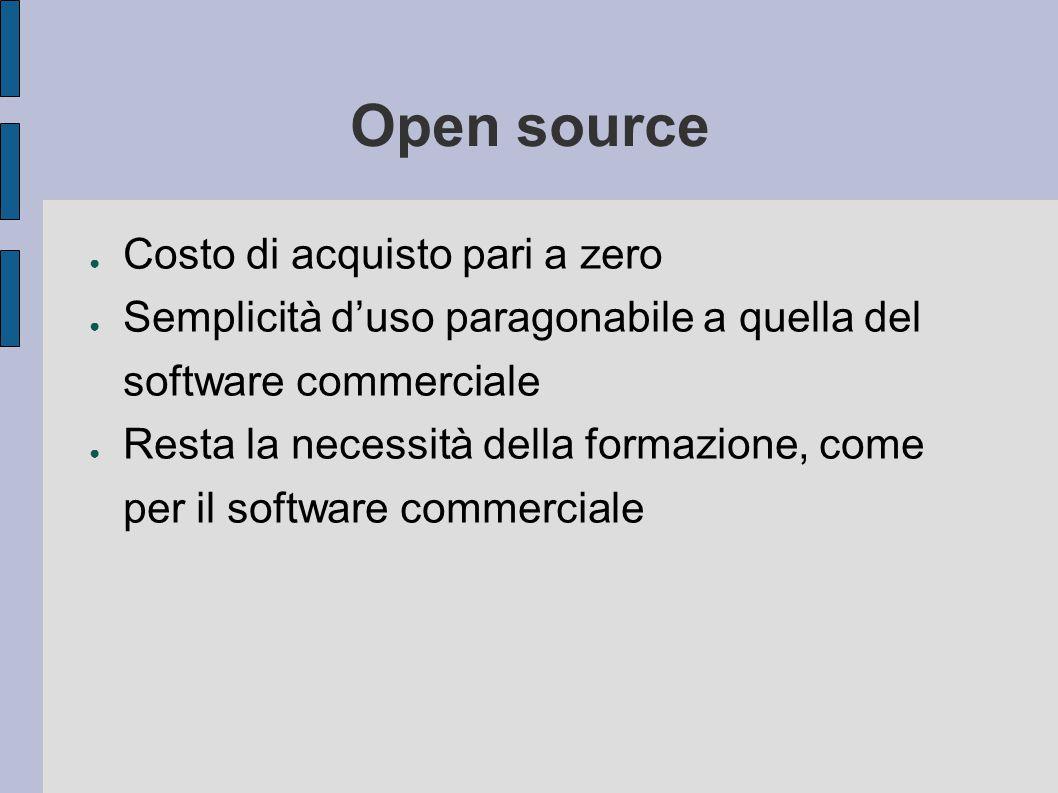 Open source Costo di acquisto pari a zero