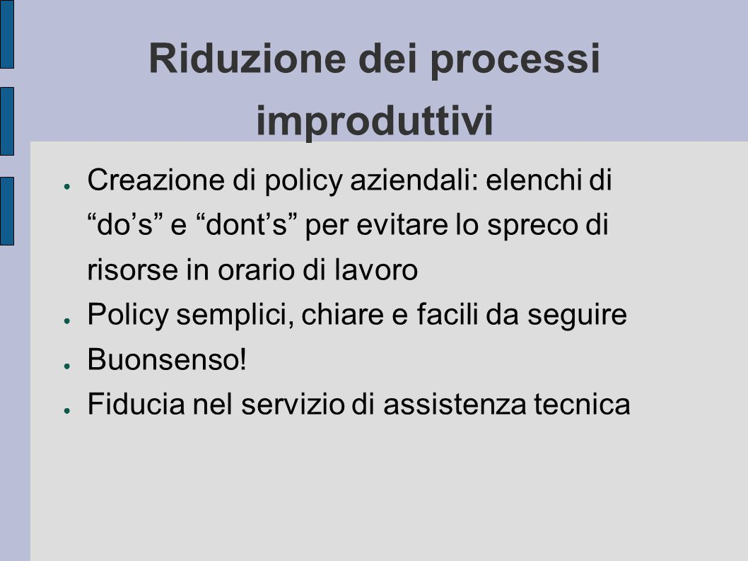 Riduzione dei processi improduttivi