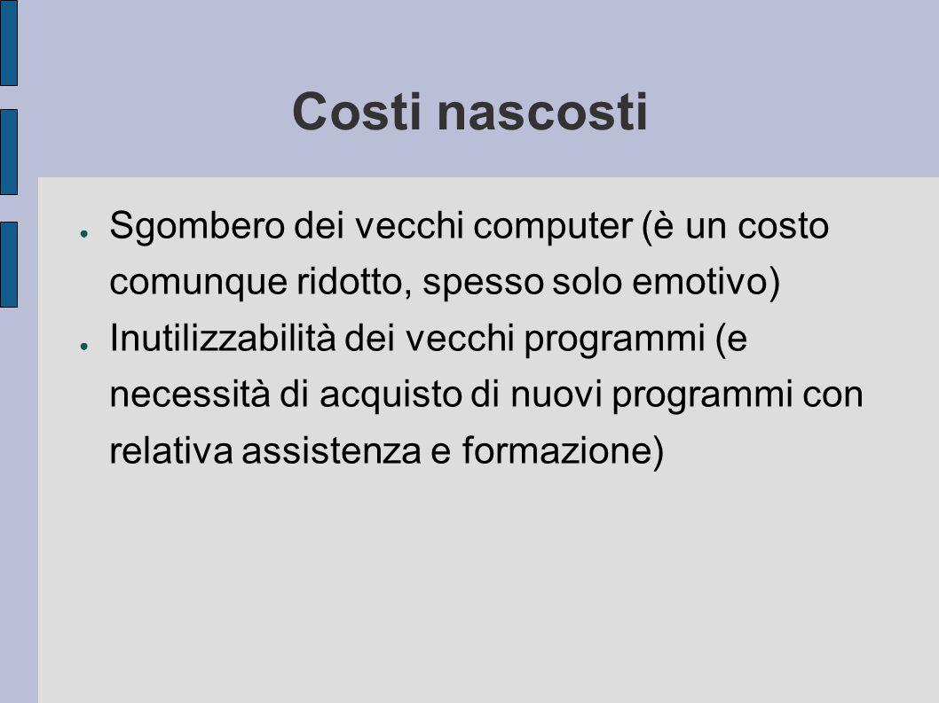 Costi nascosti Sgombero dei vecchi computer (è un costo comunque ridotto, spesso solo emotivo)