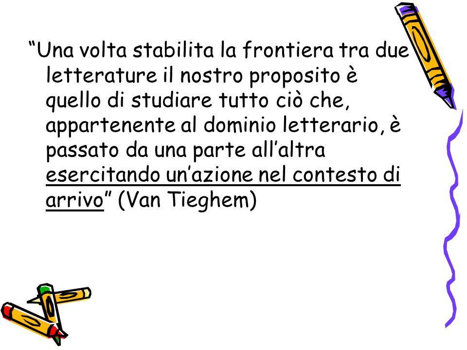 Una volta stabilita la frontiera tra due letterature il nostro proposito è quello di studiare tutto ciò che, appartenente al dominio letterario, è passato da una parte all'altra esercitando un'azione nel contesto di arrivo (Van Tieghem)