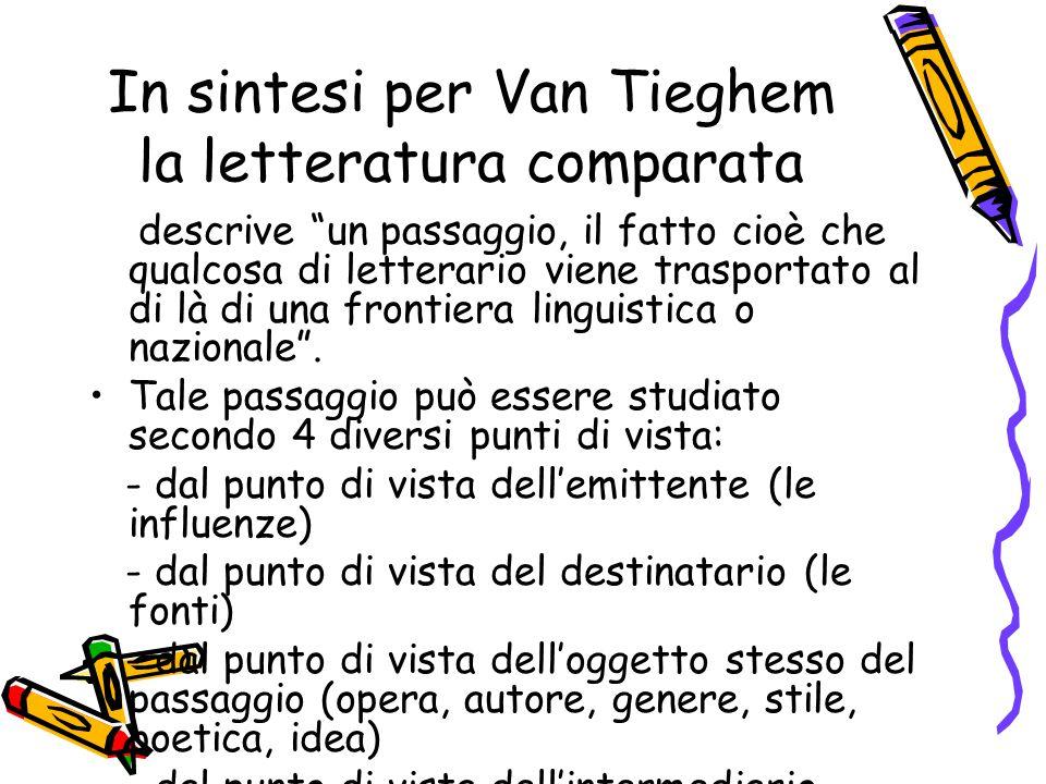 In sintesi per Van Tieghem la letteratura comparata
