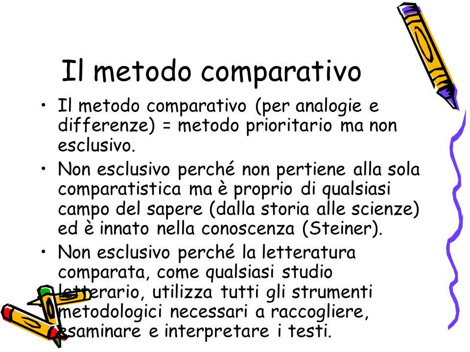 Il metodo comparativo Il metodo comparativo (per analogie e differenze) = metodo prioritario ma non esclusivo.
