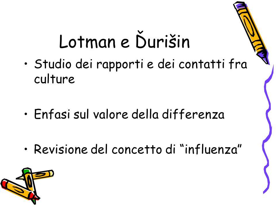 Lotman e Ďurišin Studio dei rapporti e dei contatti fra culture