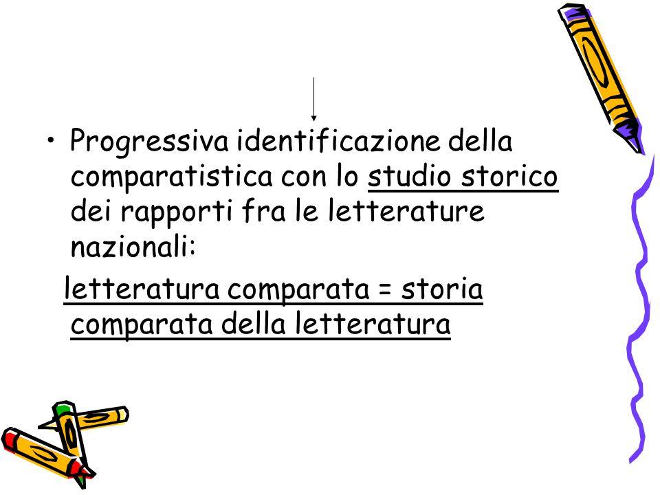 Progressiva identificazione della comparatistica con lo studio storico dei rapporti fra le letterature nazionali: