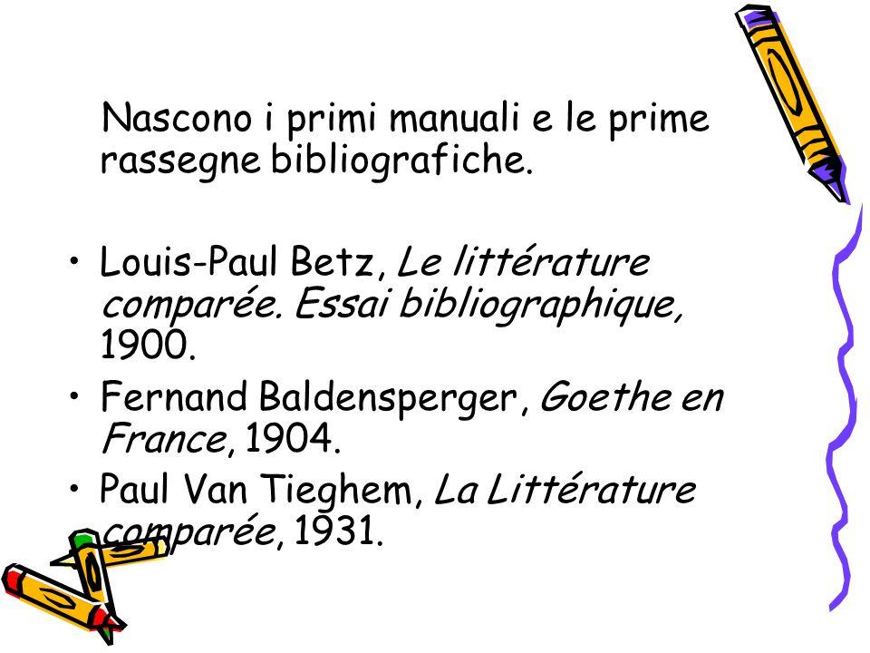 Nascono i primi manuali e le prime rassegne bibliografiche.