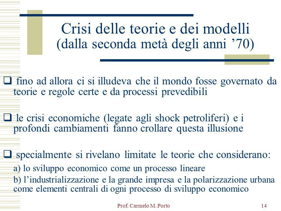 Crisi delle teorie e dei modelli (dalla seconda metà degli anni '70)
