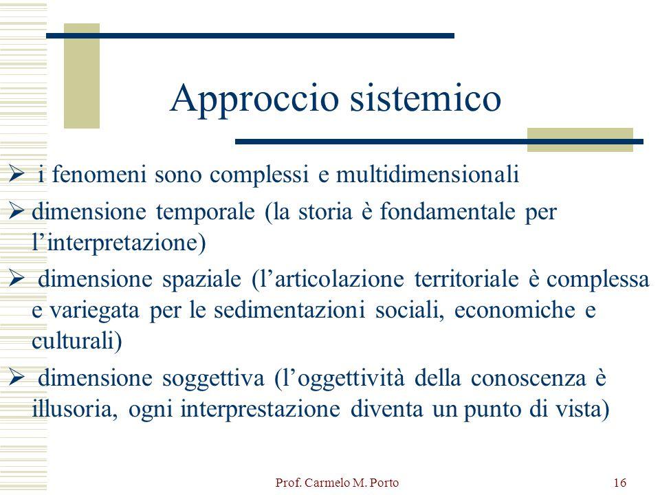 Approccio sistemico i fenomeni sono complessi e multidimensionali