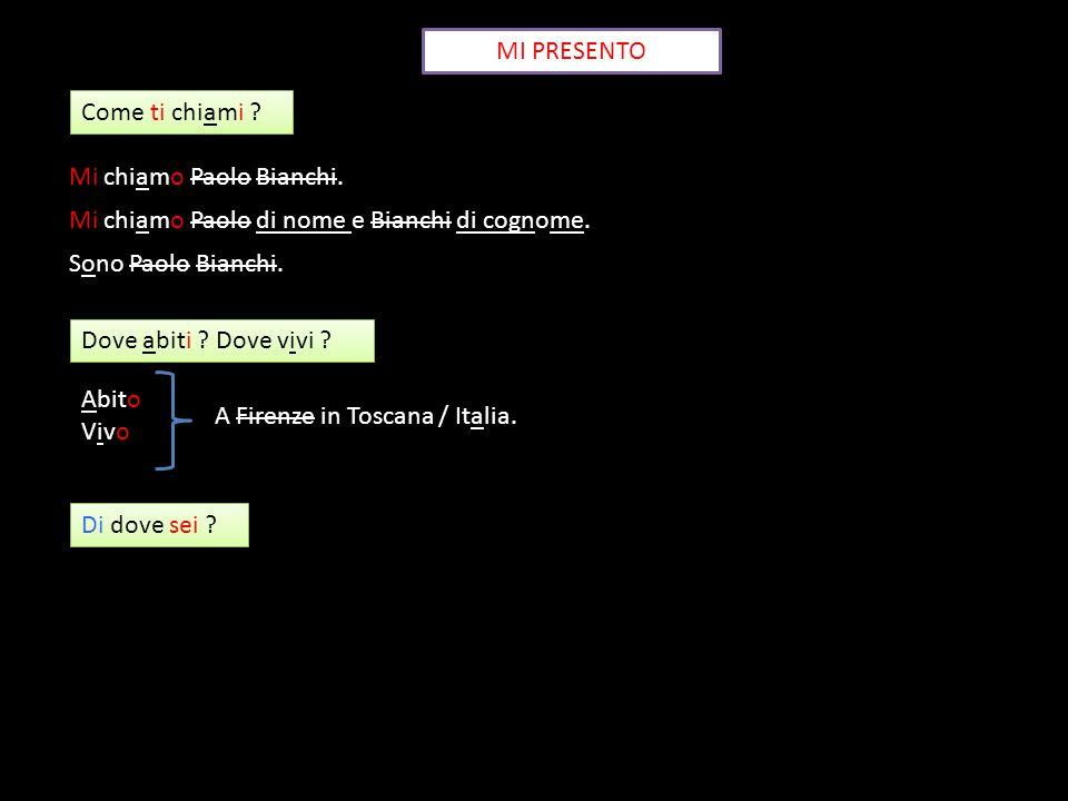 MI PRESENTO Come ti chiami Mi chiamo Paolo Bianchi. Mi chiamo Paolo di nome e Bianchi di cognome.