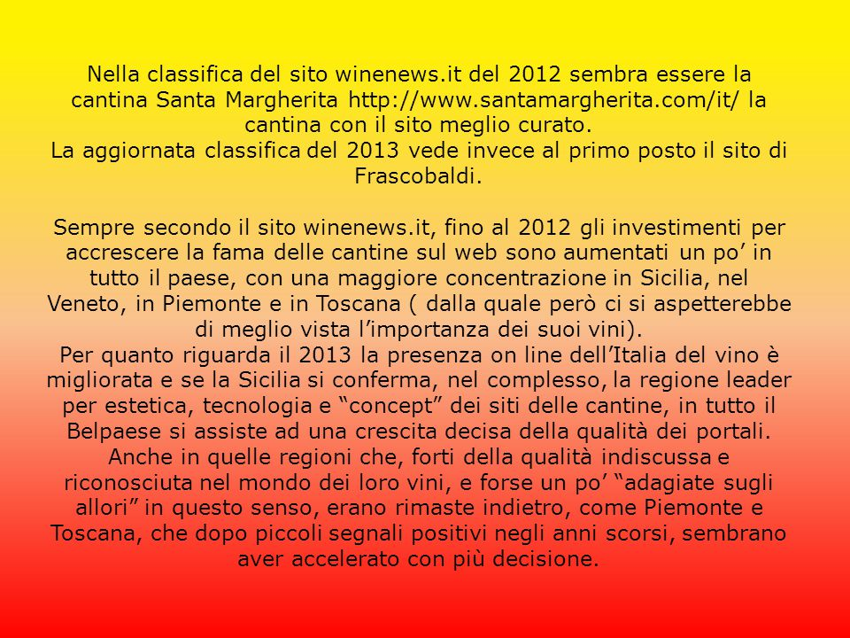 Nella classifica del sito winenews