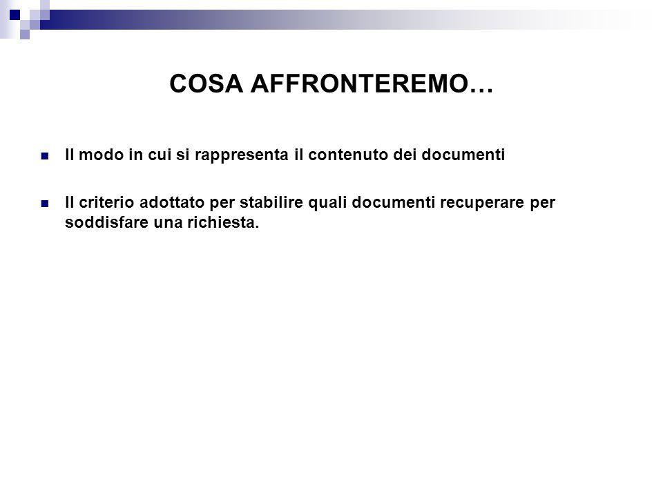 COSA AFFRONTEREMO… Il modo in cui si rappresenta il contenuto dei documenti.
