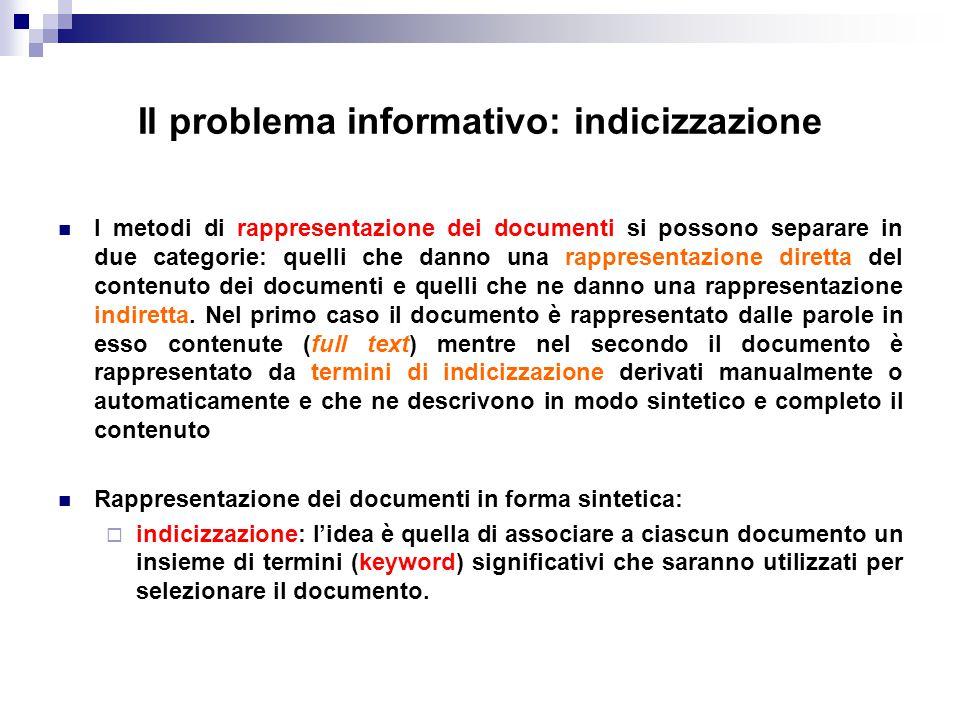 Il problema informativo: indicizzazione