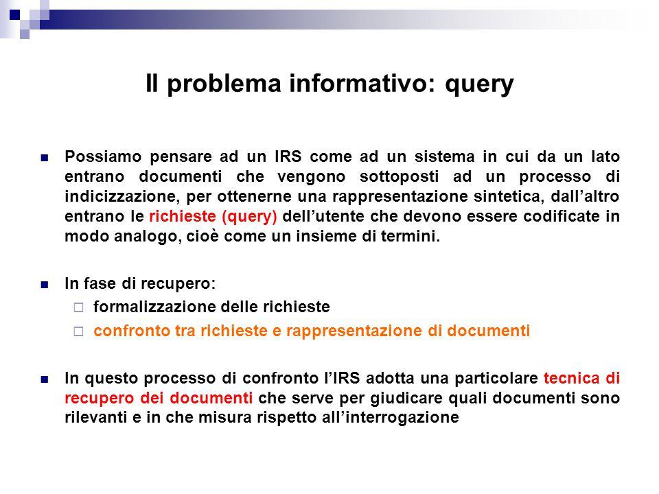 Il problema informativo: query