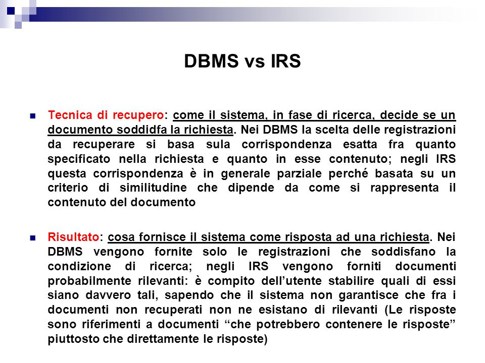 DBMS vs IRS