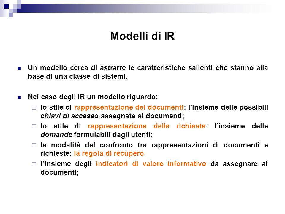 Modelli di IR Un modello cerca di astrarre le caratteristiche salienti che stanno alla base di una classe di sistemi.