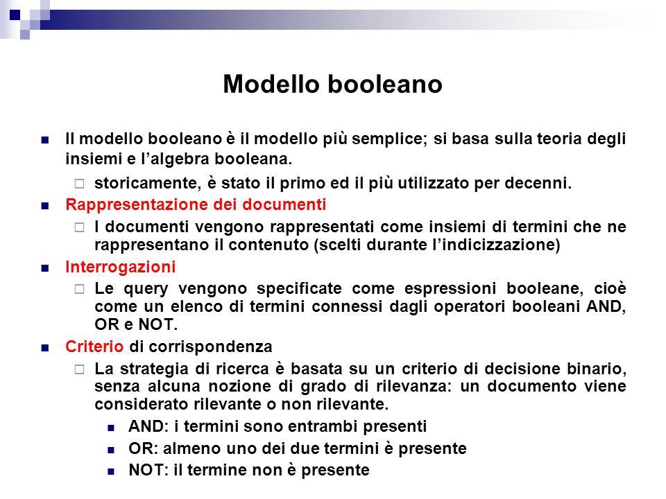 Modello booleano Il modello booleano è il modello più semplice; si basa sulla teoria degli insiemi e l'algebra booleana.