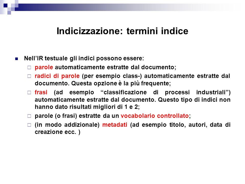 Indicizzazione: termini indice